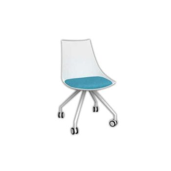 Planet White Chair with Castor Base