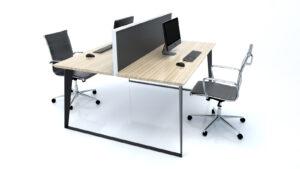 Razor+2+Person+workstation+light+oak