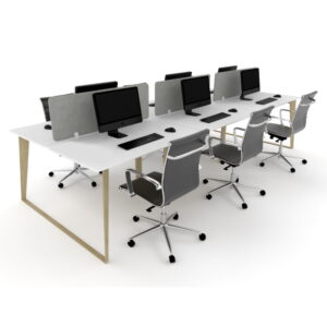 Skill 6 person workstation with wood grain legs