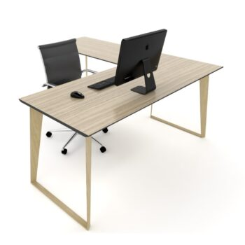 Skill Single Desk Timber grain leg