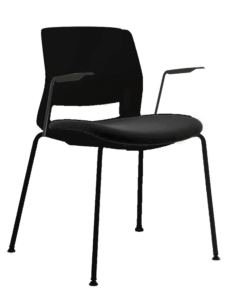 ARM CHAIR SNOUT 4 LEG BLACK BLACK SEATPAD