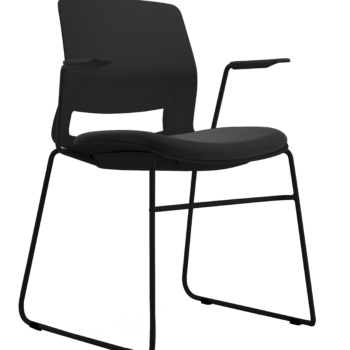 ARM CHAIR SNOUT SLED BLACK BLACK SEATPAD