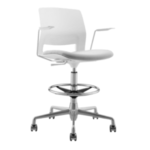 ARM STOOL SNOUT CASTOR WHITE GREYBLACK SEATPAD front