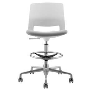 STOOL SNOUT CASTOR WHITE GREY SEATPAD front new 1